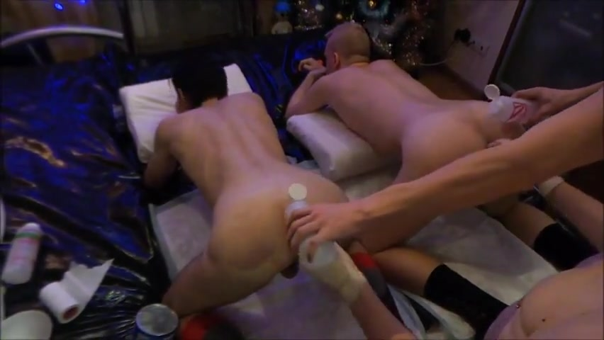 Two boys fisting Milf whore handjob dick and crempie