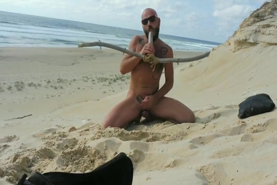 Bearded stud fucks himself on beach Curvy erotics