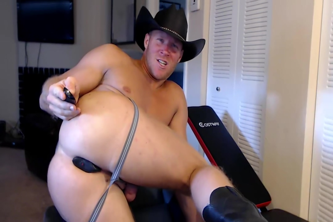 CG69 cowboy hat, jockstrap and ohmibod fell and moorland ass
