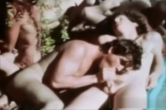 Vintage Poolside Twink Gay Orgy Girls tearing off boys clothes gif