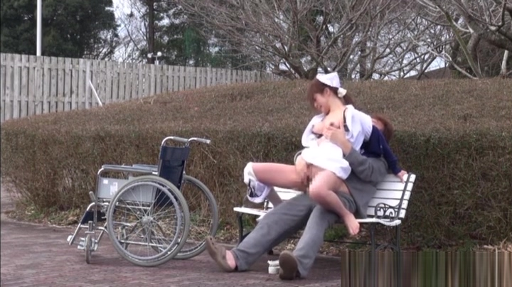 Naughty Asian nurse enjoys hot outdoor sex Filleting chicken breast