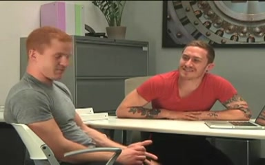 Muscled gay sucks a redhead guys dick