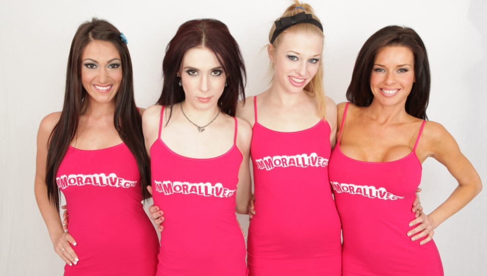 ImmoralLive Video: Aiden Ashley, Avril Hall, Veronica Avluv and Victoria Love Lingerie british lesbian