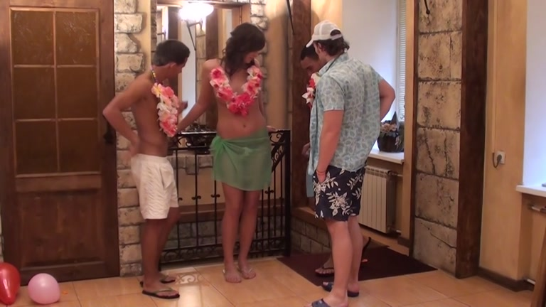 group sex with the beauty on a Hawaiian party Fist her ass hard and deep