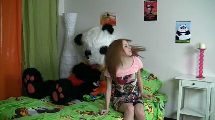 Joy fucking with a large toy bear