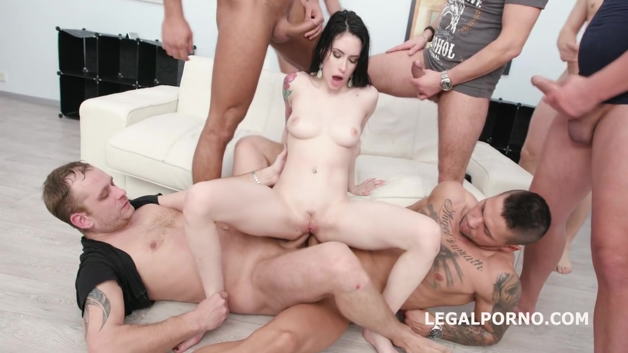 Slim, Brunette Slut, Anna De Ville Is About To Get Fucked By Many Guys In A Row