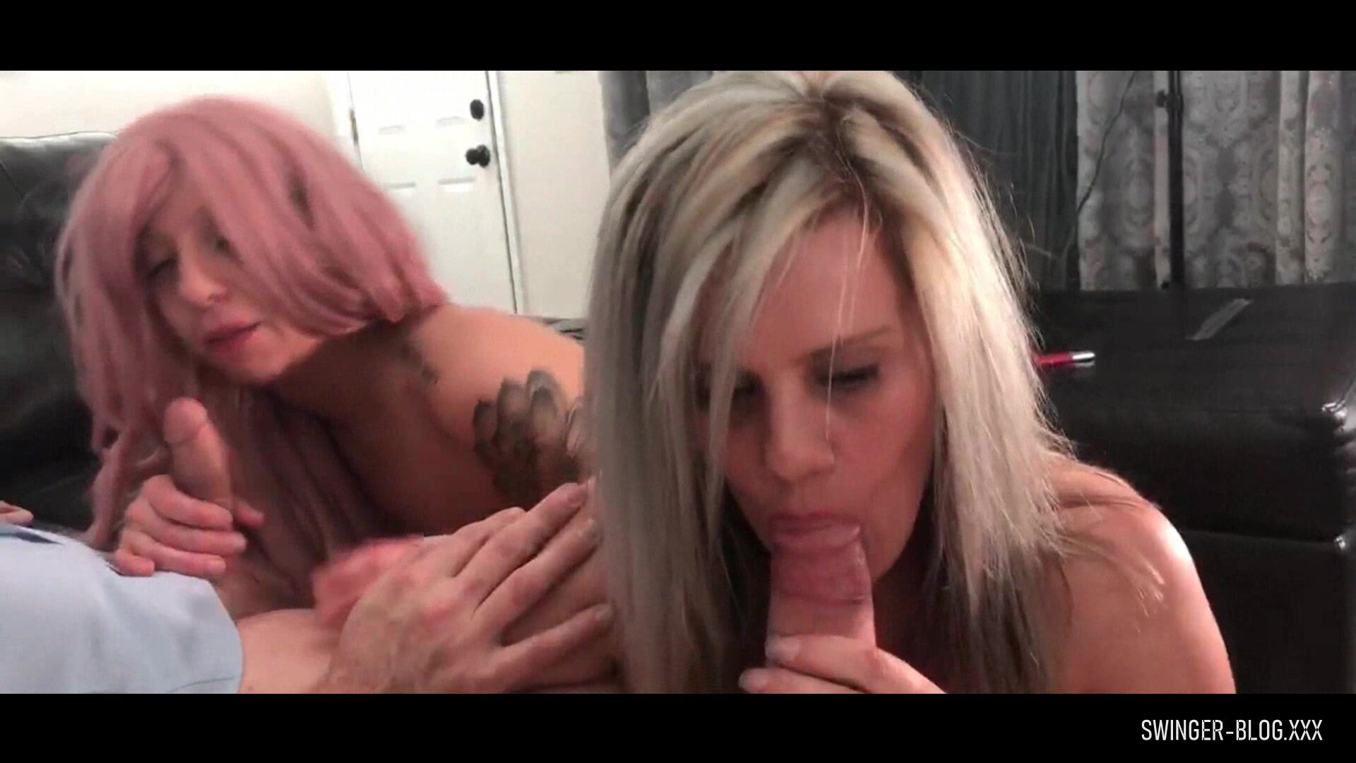 Hot Blonde Swinger Housewives Blowing Two Fat Cocks