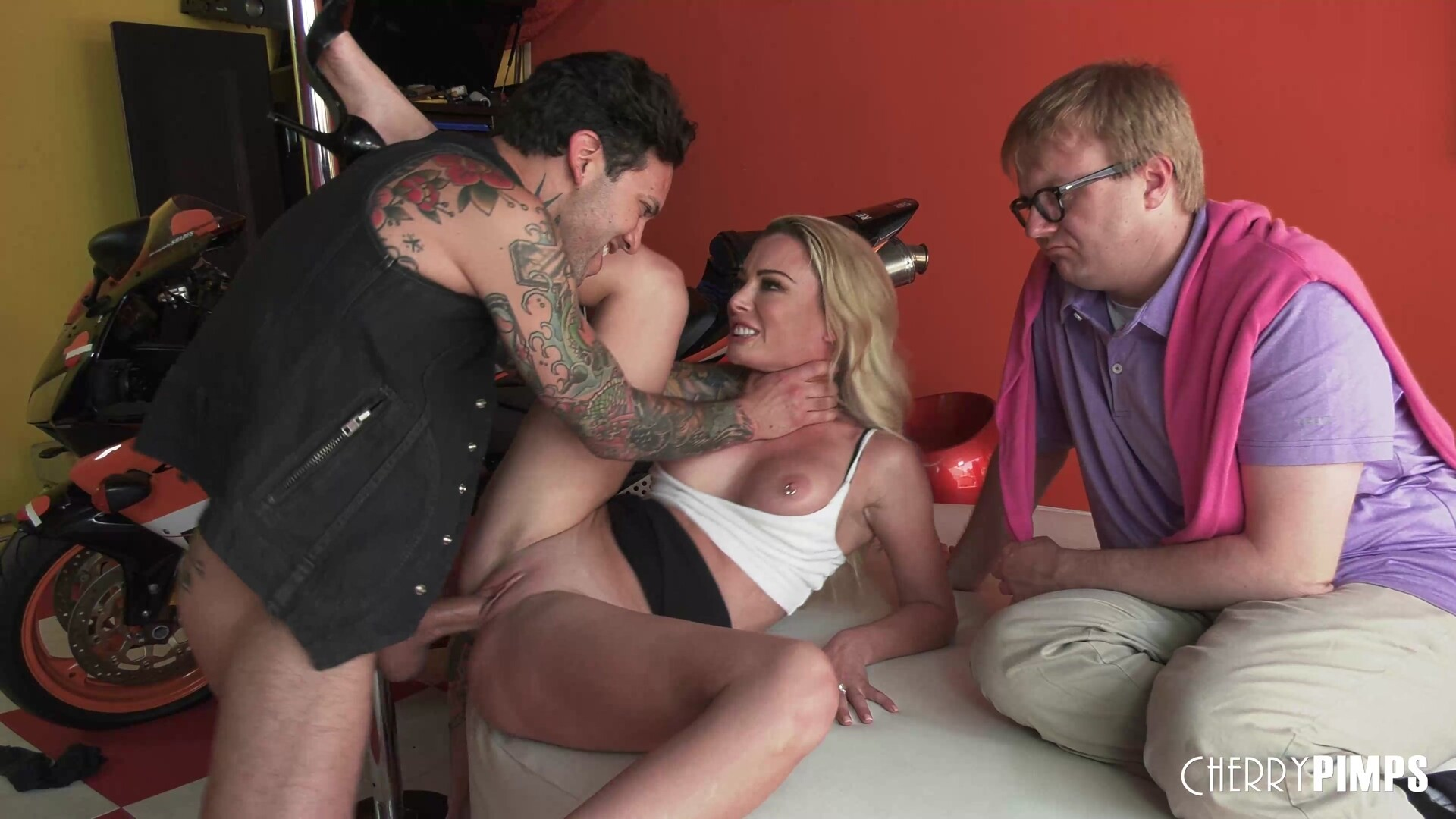 Hot Blonde Big Tit Wife Pounded Hard In Front of Wussy Cucked Husband, By a Badass Stud