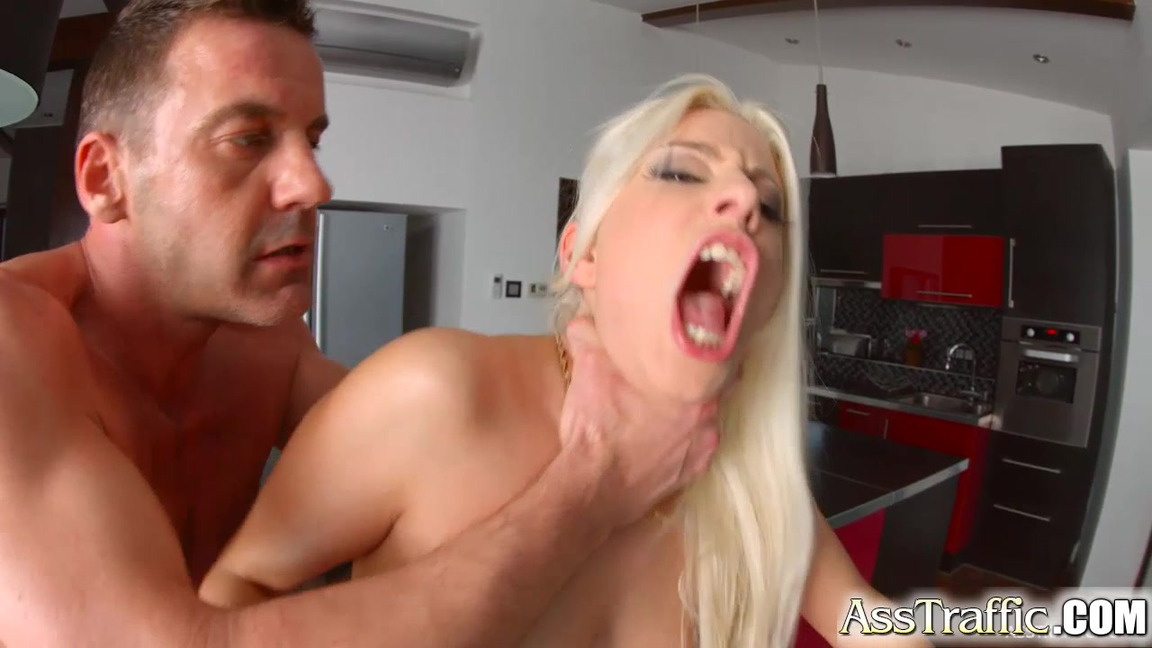 AssTraffic Blonde plays with cum after ass fucking Son penis in mom pussy