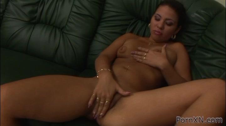 G.G in PornXN video:Dildo Masturbation Horny brunette hottie fistfucks ebony slave tight pussy