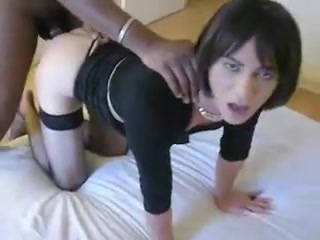Horny CD Brunette Banged by Black Cock Hd girl pain fuck images
