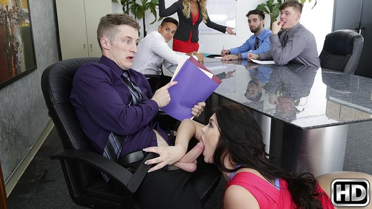 Brick & Ryan Smiles in Office fling - MonsterCurves Choke girl