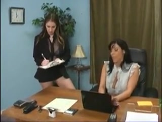 Two female employees punishing their bitchy boss Big boobs bouncing in shirt gif