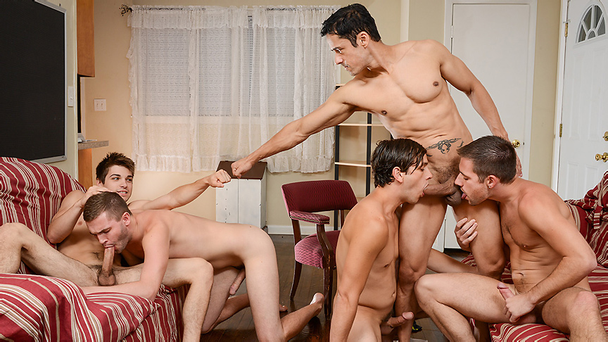 Dylan Knight, Jack Radley, Johnny Rapid, Rafael Alencar, Zac Stevens in My Neighbors Son Part 4 - JizzOrgy Sex porr video swedish