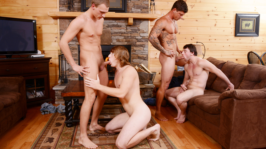 Bryce & Scott Harbor & Sebastian Young & Tom Faulk in Backwoods Bareback Part #3 Scene 1 - Bromo Is my vagina loose