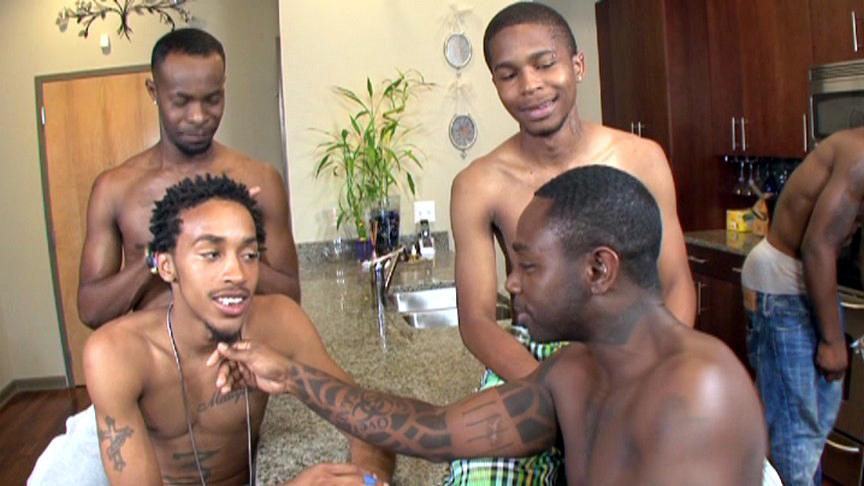 Black Lion, Kash, Kavasia, Mr. Pipe Em, Sean, T.Y., Thugzilla in Thug Orgy #3 scene 1 - Bromo Can do it women's sexy wrap 2 piece