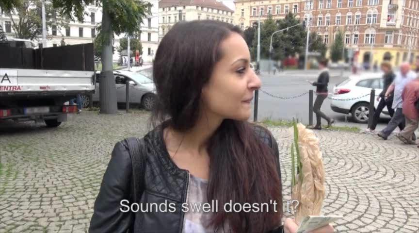 Real amateur brunette Eurobabe Lili Devil railed for some cash