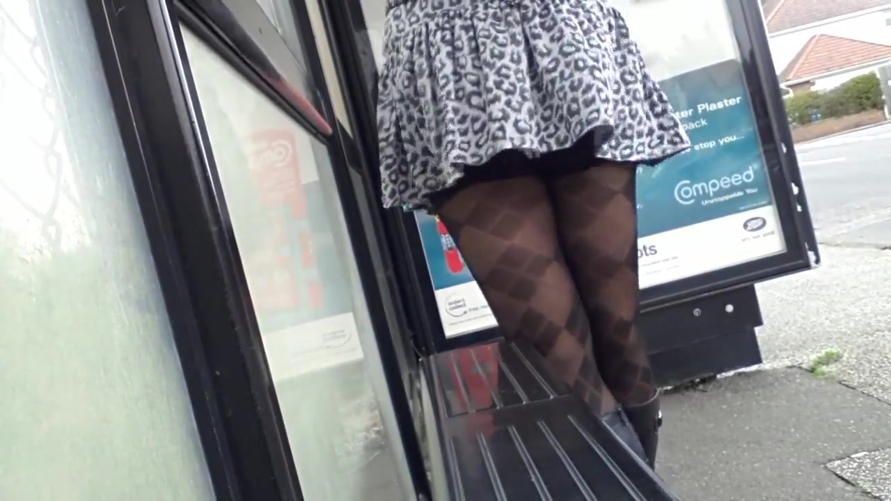 Mix of outfits windy upskirt stockings