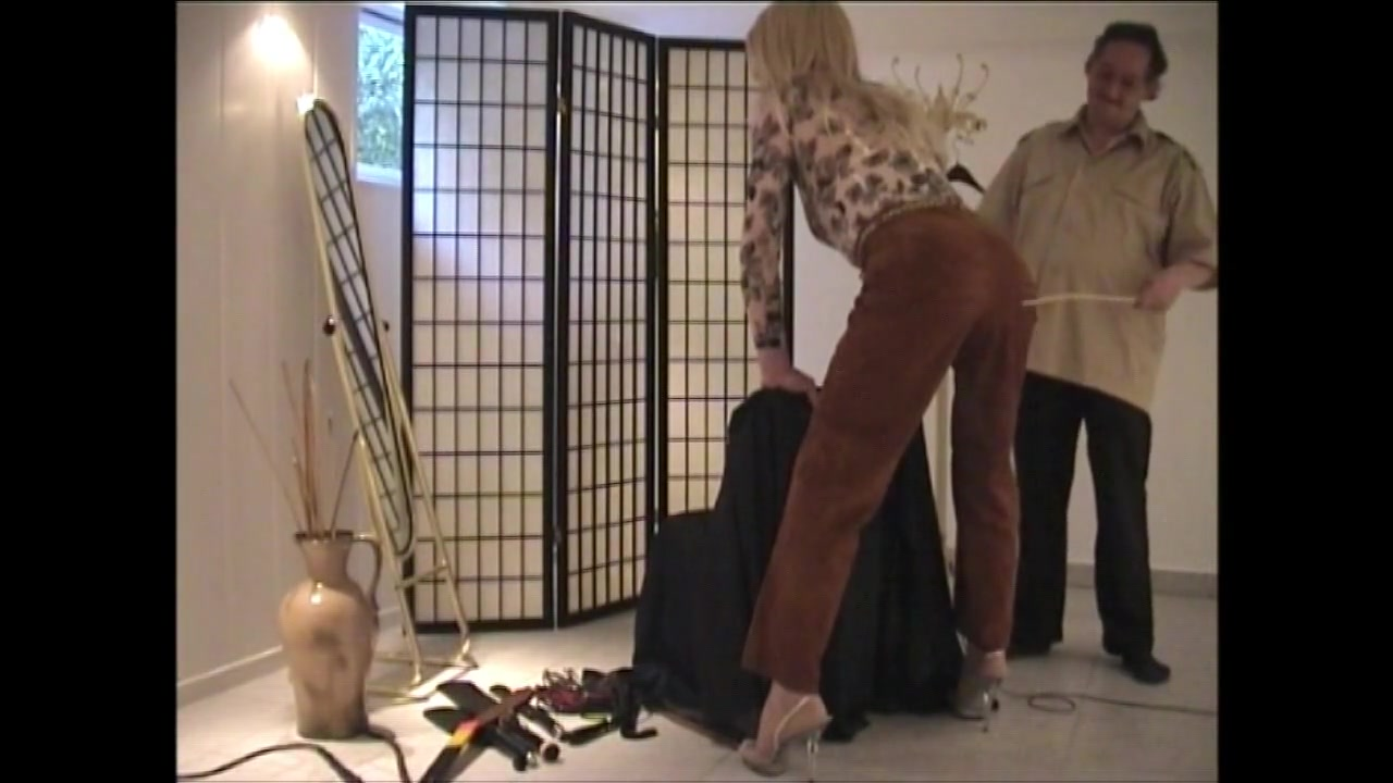 Caned in leather pants Mature anal in a luxurious room