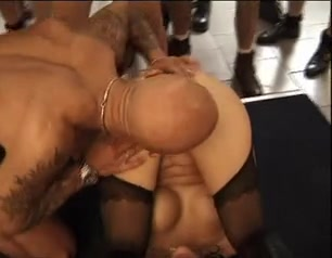 Slutty cum whores enjoying a gangbang treatment