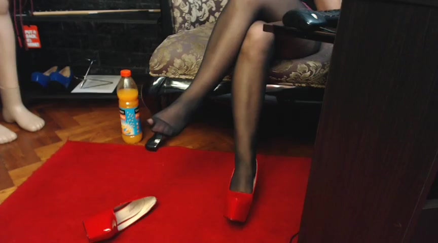 Monika shows her hosed feet 1 Natural hairy pussy
