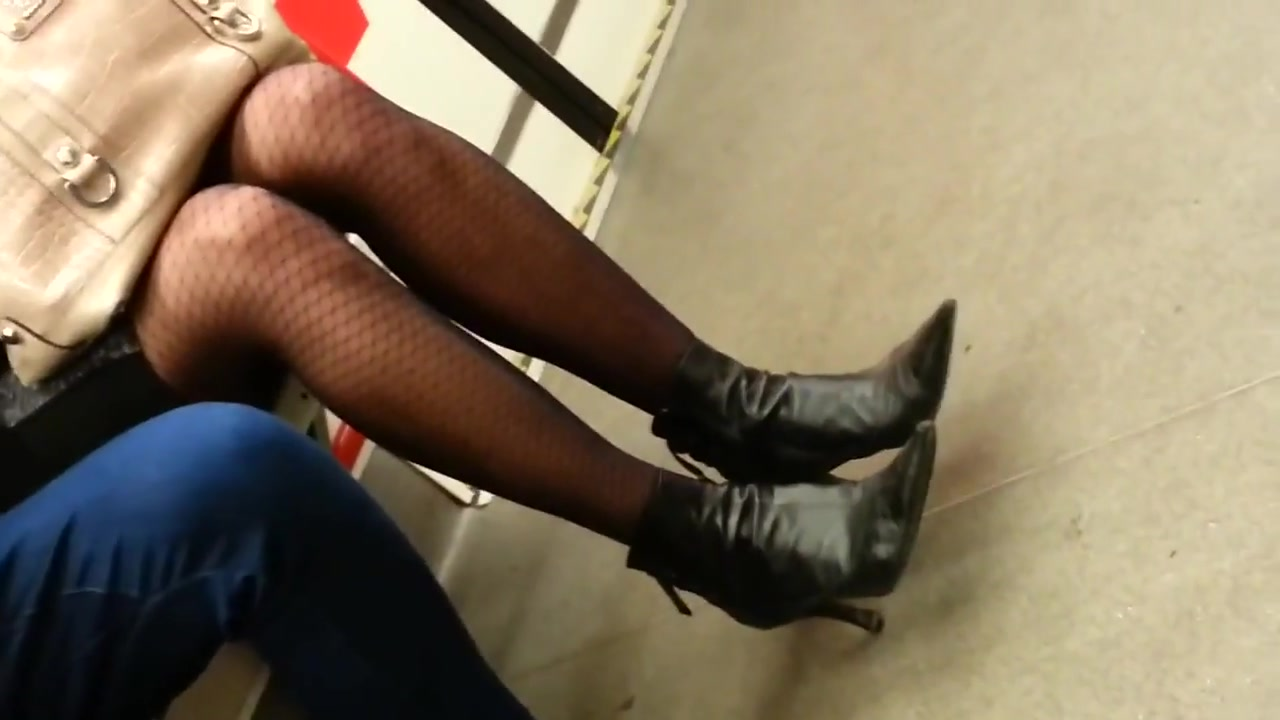 Candid pantyhose in metro 2