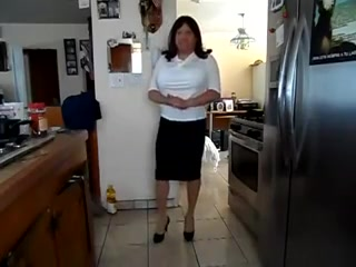 Transgender white front design blouse black tight skirt Sopia Lameli