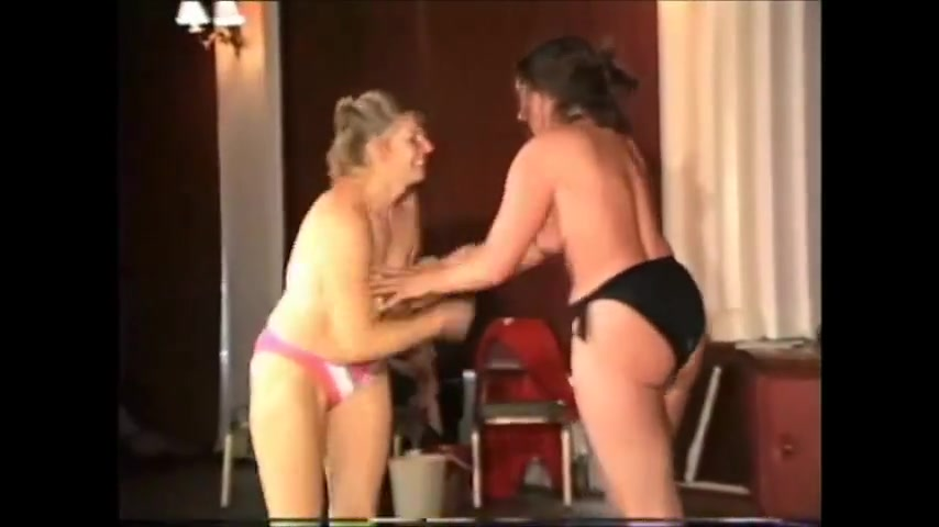 Topless Housewives International Competitive Wrestling Woman has dick pron