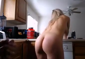 Pawg blond shaking big ass while bf wanks
