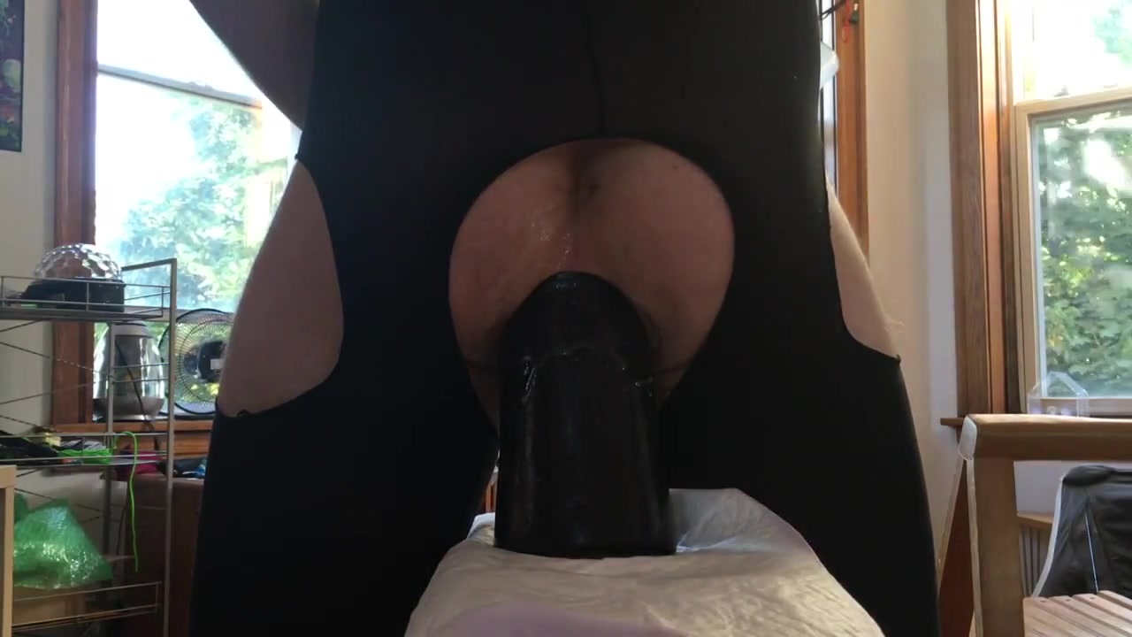 Riding my giant 4 inch wide dildo Amateur Black Anal Creampie