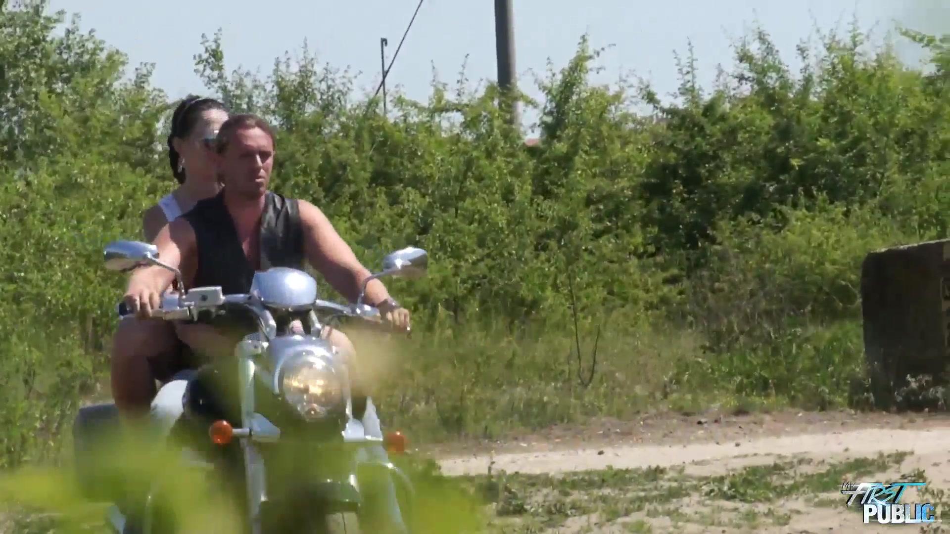 Michaela Fucks Over A Motorcycle Outside