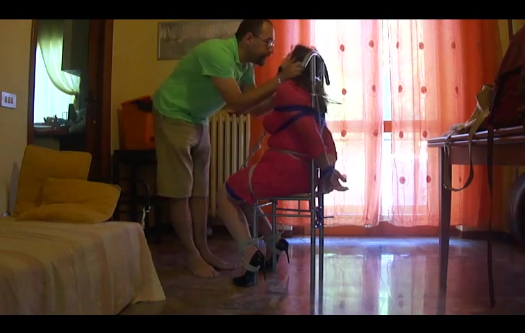 Chairtied slave struggles pretty black girl getting fucked