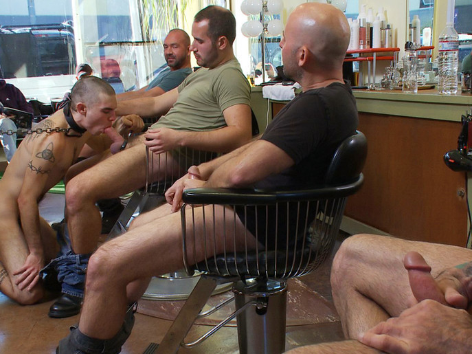 Shaved and fucked in a busy barbershop shemale gets ass fucked