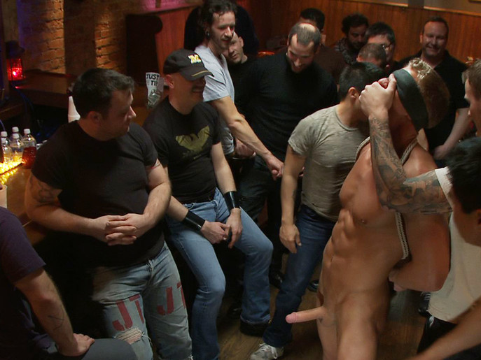 Blond Muscle Stud Blindfolded, flogged, humiliated and fucked in Rope remote egg forced orgasm