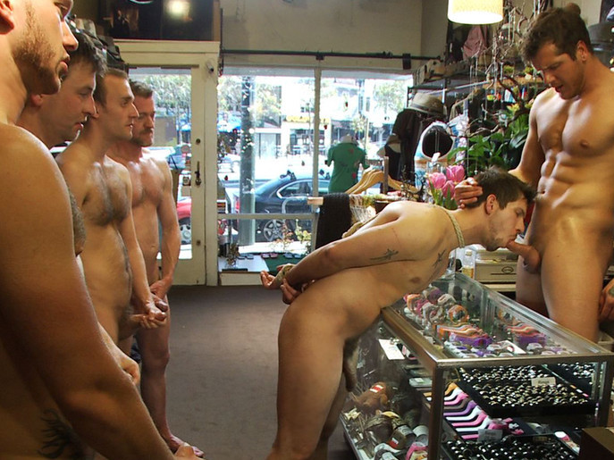Cocky stud gets gangbanged in a clothing store rough lesbian face grinding