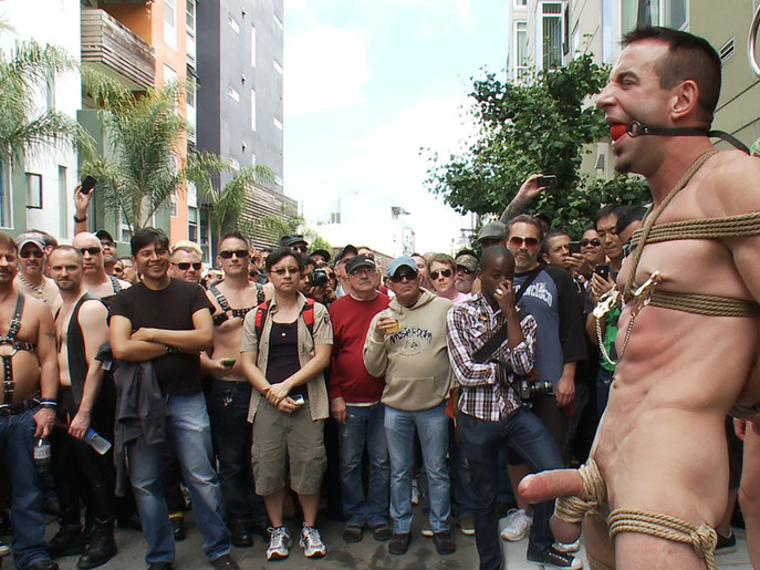 Muscle slave is stripped naked, used and humiliated while hordes of people take photos. Squirting big ass latin milf enjoys masturbation