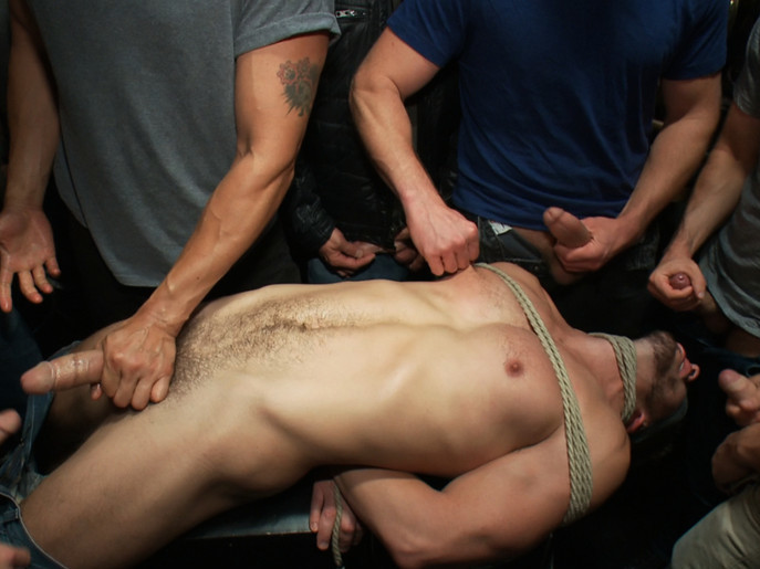 Naked ripped stud gets humiliated and used in a crowded public bar. Cop Jerk Off