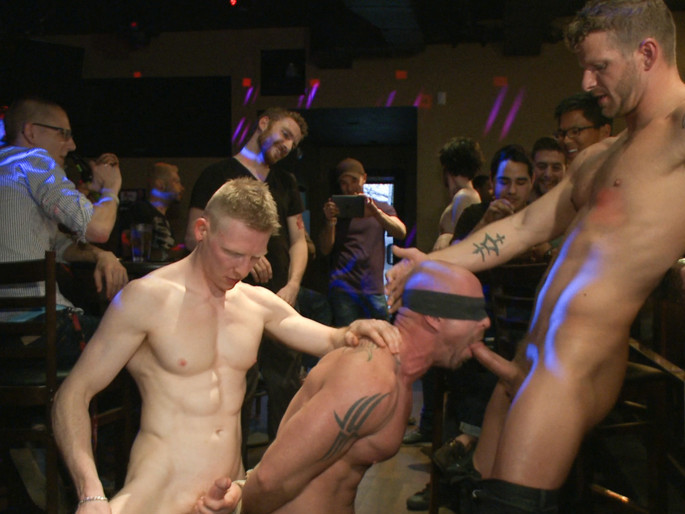 Muscle stud Mitch Vaughn tied up and used in a public bar Spanked his ass porn