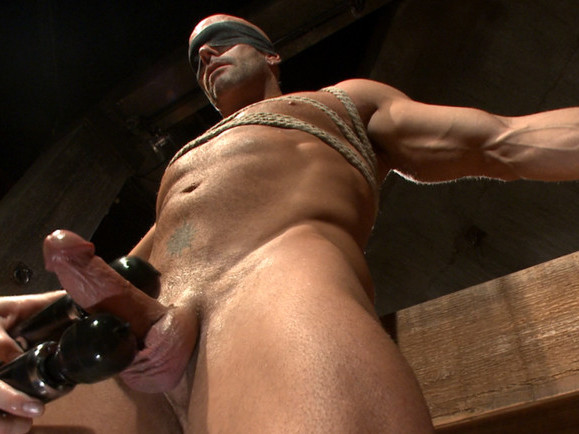 Hot cowboy tied up for the first time and shoots a load onto his face! Back seat driver sex position