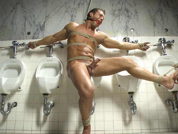 College jock gets a crash course in edging while bound to the urinals hot sexey girls naked