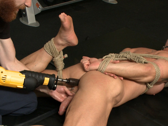 Pervy handyman has his way with a hot muscle god at the gym Fit white girl flashing tits nipple pireced