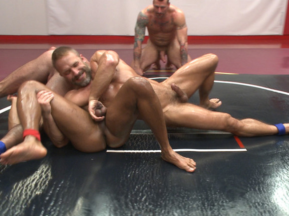 Muscle on Muscle: Live Tag Team Oil Match Between 4 Ripped Hunks! lesbian slamming each other pussy