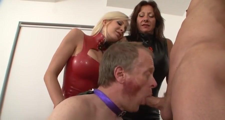 Mistresses make him suck cock