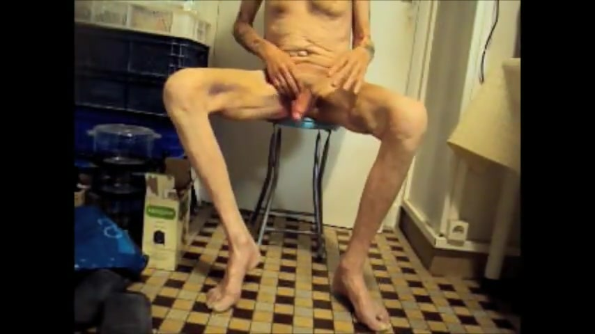 Cock Beating with Cum Nude girl with only shirt image