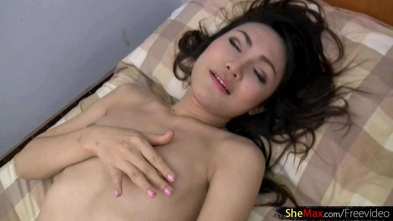 Luscious ladyboy in red satin dress strokes hairy shecock Ass penetration movie