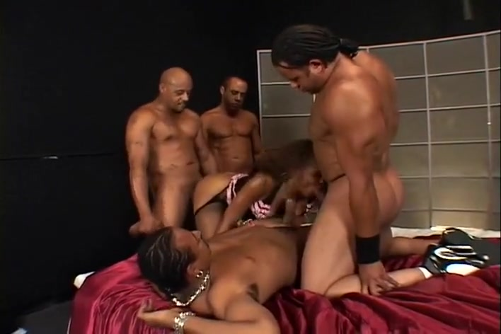 Three guys banging a busty black beauty Ebony screamer