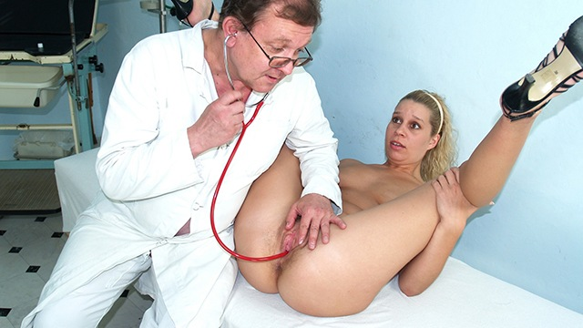 Hairy pussy blonde abused by weird gynecology doctor Sexy wet pussy getting fucked