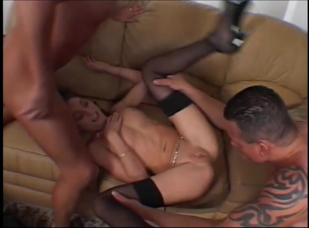 Brittany Double Teamed By Two Hung Dudes Tranny double fucked
