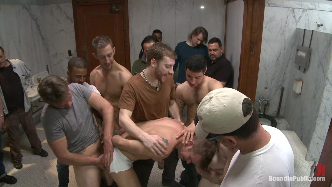 Bound in Public. Straight stud gets gang fucked in a crowded cruising bathroom Big fat huge cock