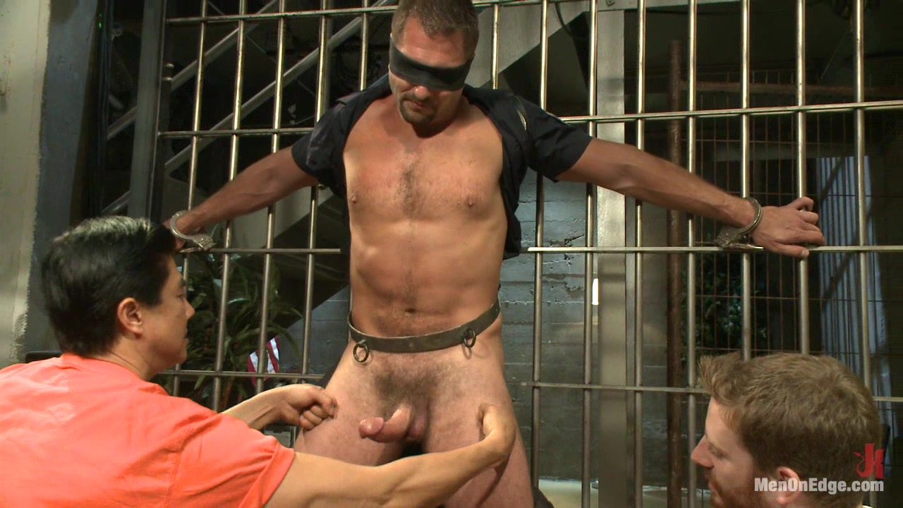 Officer Justice taken down and his giant cock edged by two perverts sister let brother see her naked movie